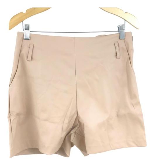 Shorts Couro Fake Feminino Cintura Alta