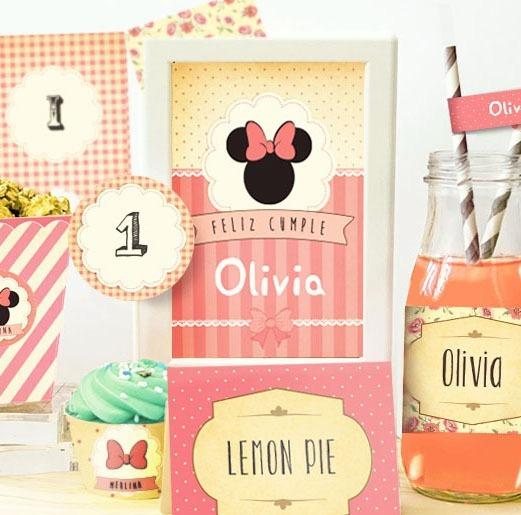 Kit Imprimible Minnie Shabby Romántico Original Munki