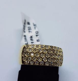 Anel De Ouro 18k 750 45 Diamantes Verdadeiro Impecavel 8,10g