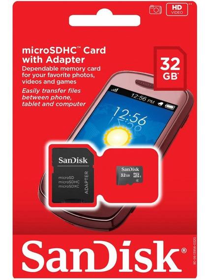 Cartao De Memoria Sandisk Micro Sd 32gb Com Adaptador Sd