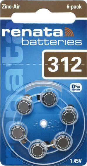 60 Pilha Aparelho Auditivo 312 Bateria Auditiva Za312 Renata