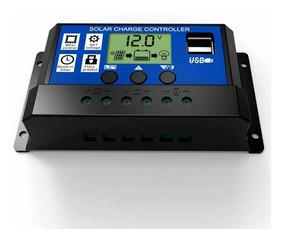 Controlador De Carga 10a 2 Usb 12/24v Para Painel Solar Pwm