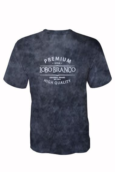 Camiseta Premium Lobo Branco Vip Azul Marinho Marmorizada