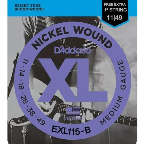 Encordoamento Guitarra Cordas Daddario .011 Exl115 Nickel