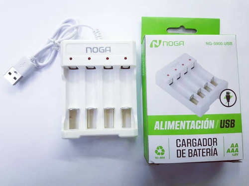 Cargador Pilas Noga Ng-5900 Para 4 Aa/aaa Conexión Usb