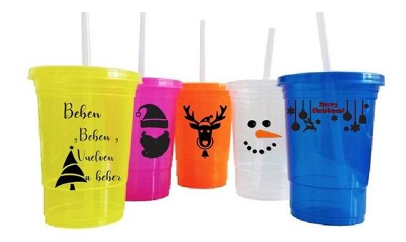 Vasos Neon Con Tapa Y Popote Rigido Personalizados 20 Pzas