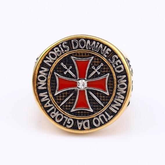 Anel Aço Inox Maçom Ordem Templário Cruz Cavaleiro Medieval