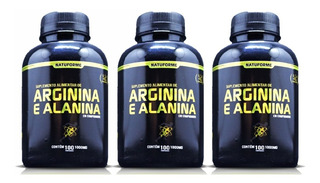 3 Arginina + Alanina 300cap 1g Oxido Nitrico + Frete Grátis