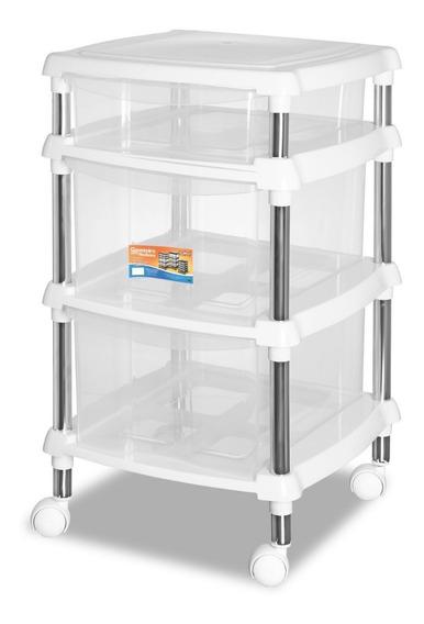 Organizador Multiuso Branco Quarto / Cozinha 619-4 Gaveteiro