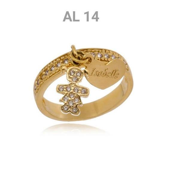 Anel Folheado A Ouro 18k Personalizado Com Pedras