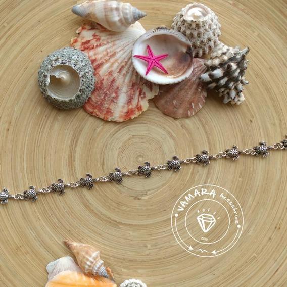 Coleção Do Mar - Pulseira De Prata 925 Bali Tartaruga