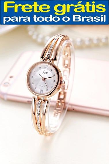 Relógio Feminino Luxo Dourado Cor Ouro Analógico Pulso