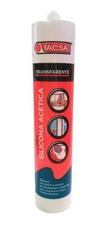 Pack 10 Silicona Acética Transparente Cartucho 280ml Tacsa