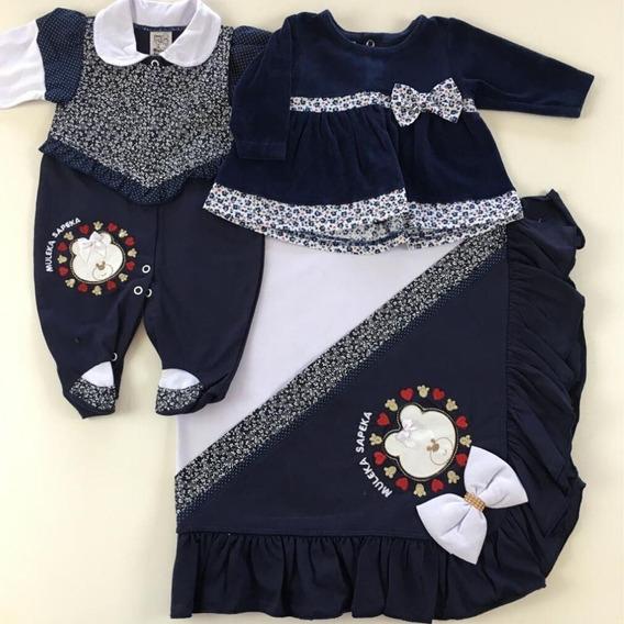 Kit Saida Maternidade Menina Com Vestido Plush