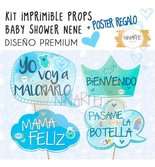 Kit Imprimible Cartel Props Baby Shower Nene Diseño Premium