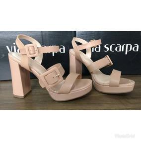 Sandalia Salto Grosso Via Scarpa Feminina C/nota