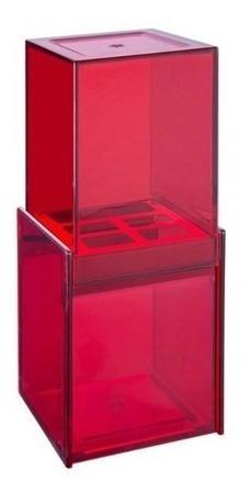 Porta Escova De Dente C/ Sobretampa Vermelha Quadrata Brinox