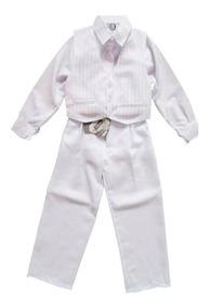 Terno Infantil Masculino Branco Batizado Pajem Raumay