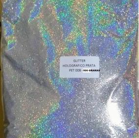 500 G Glitter Poliester Holográfico Prata 008 Para Maquiagem