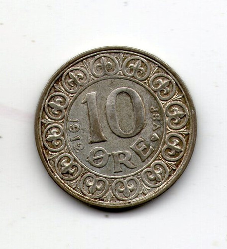 Dinamarca Moneda Plata 10 Ore 1912 Km#807 - Argentvs