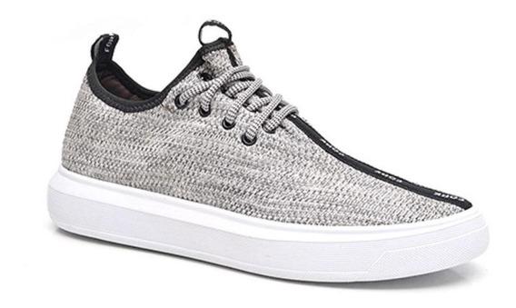 Tênis Sneaker Masculino Cano Baixo Tecido Conforto Dia A Dia