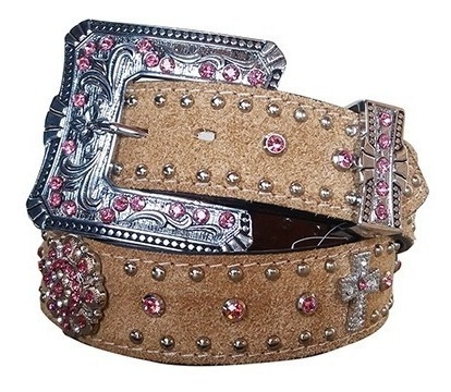 Cinto Country Couro Natural Strass Rosa Arizona Belts 7105