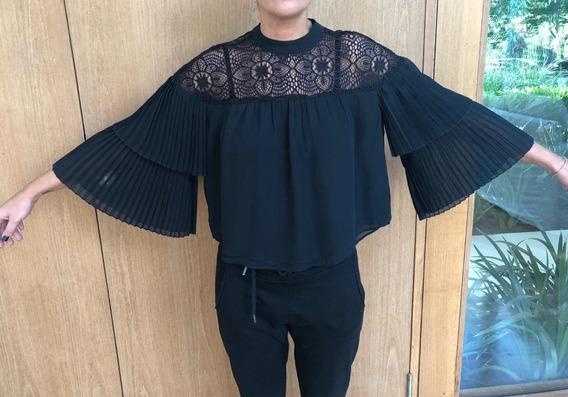 Camisa Seda Con Encaje Talle Xs - Marca: Abercrombie