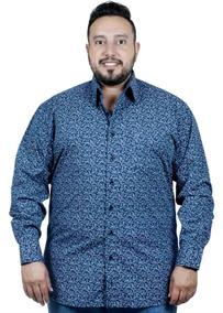 Camisa Plus Size Bigshirts Manga Longa Estampa - Flor Xad