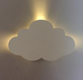 Nuvem Mdf Led Branco Quente Decoração Quarto Bebê Luz 45x29