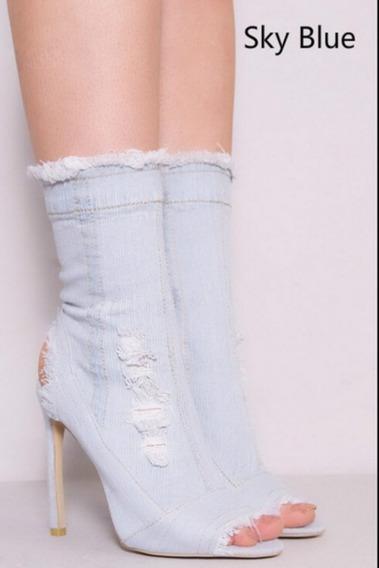 Bota Feminina Unkle Boot Jeans Destroyed Salto