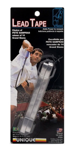Imagem 1 de 6 de Peso Balancear Raquete Unique Lead Tape Pete Sampras Prata