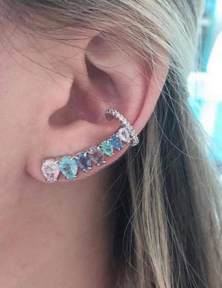 Ear Cuff 20 Cristal,brinco Encaixe Bracelete De Orelha Falso