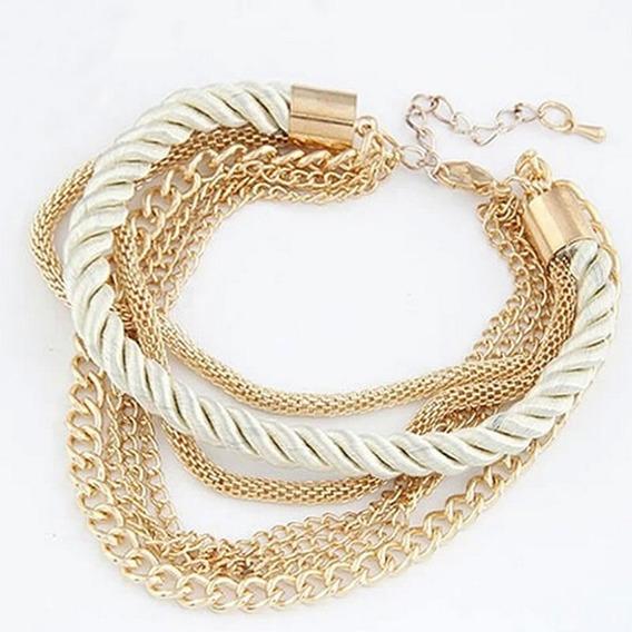 Pulseira Feminina Dourada Presente Namorada Berloques C599