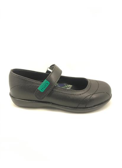 Zapato Colegial Nena Guillermina Negro Abrojo (art 120)