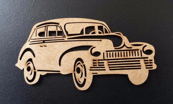 Pack 5 Carro Antigo Mdf Cru Decoração Aplique 10 Cm Md01