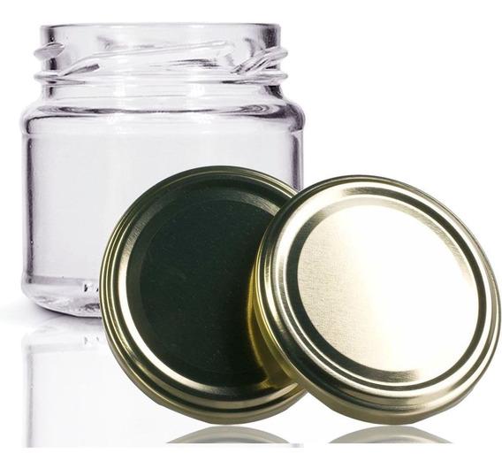 48 Potes De Vidro Mini Belém 150 Ml Com Tampa Dourada +lacre