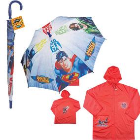 Kit Capa De Chuva + Guarda-chuva Liga Da Justiça