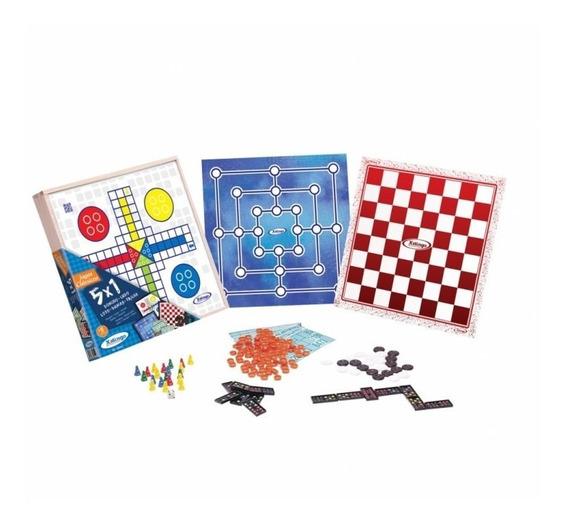 Jogo Tabuleiro 5 Em 1 Dama Ludo Trilha Dominó Loto Brinquedo