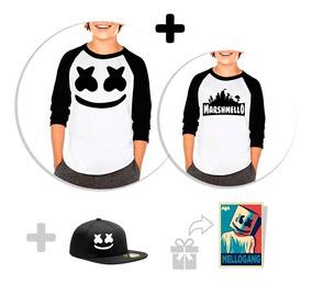 Kit Playeras Raglan Niño Marshmello Fortnite + Snapback + St