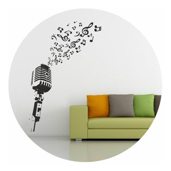 Vinilos Decorativos Microfono Notas Musicales Grande