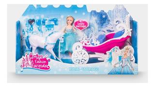 Muñeca Con Carrosa Y Caballo En La Nieve