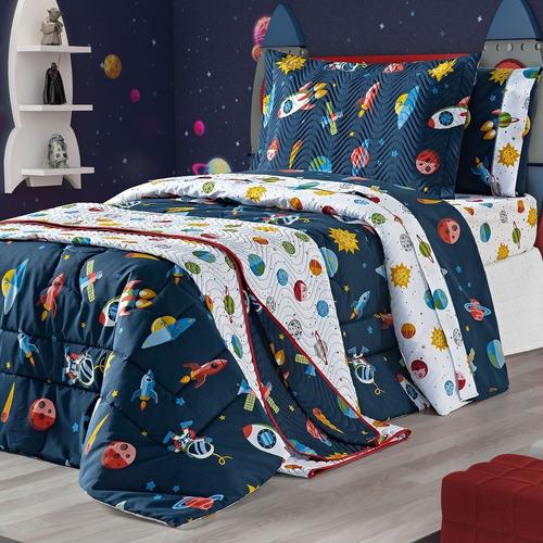Imagem 1 de 3 de Cobre Leito Kids Infantil Astro Planeta 180 Fios - 02 Pçs