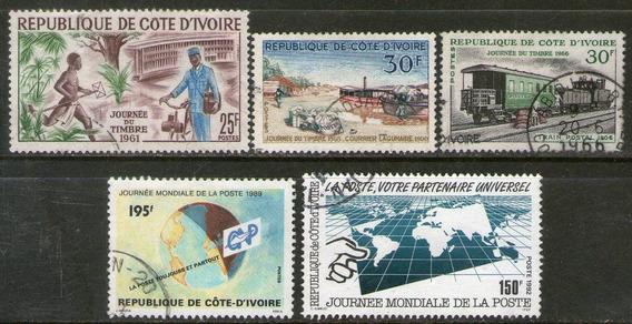 Costa De Marfil 5 Sellos Día Del Sello Postal = Tren 1961-92
