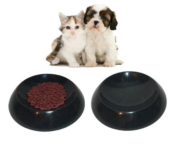 Comedouro E Bebedouro Cachorro E Gato Em Granito Preto