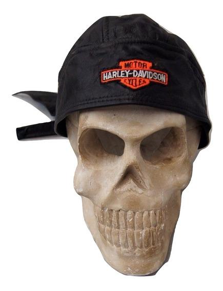 Harley Davidson Skull Cap Bandana De Couro Original