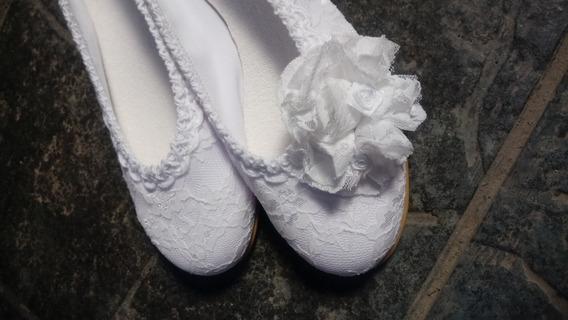 Zapatos Novia Chatitas Flor Encaje Fiesta Casamiento