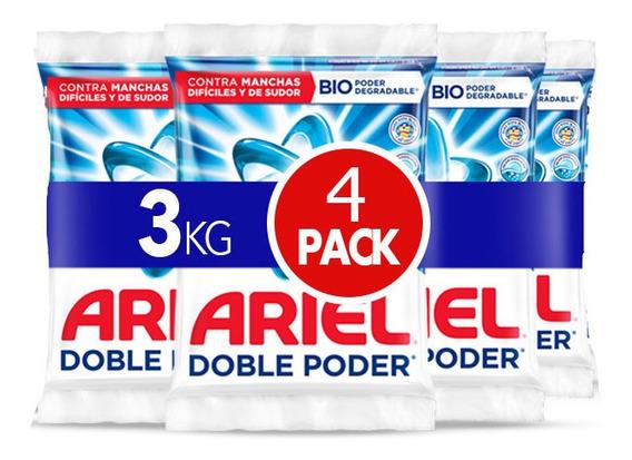 Detergente En Polvo Ariel Doble Poder 3kg, 4 -pack De 750gr