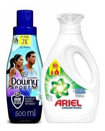 Amaciante Downy Sport Odor Block 500ml + Sabão Líquido Ariel