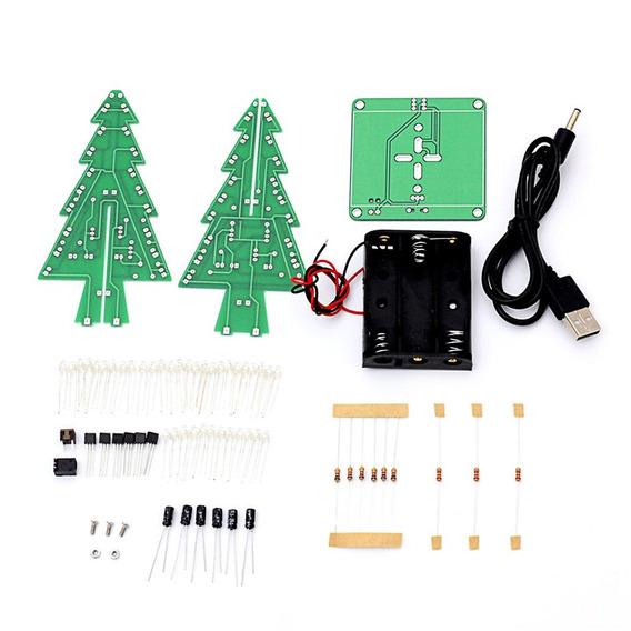 Diy 3d Árvore Natal Led Estojo Sete Cores Led Flash Engraç