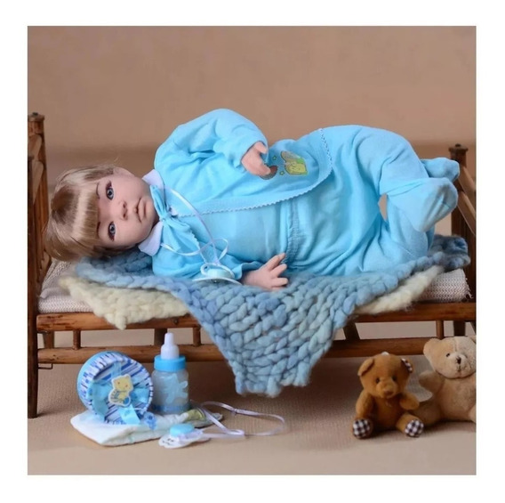 Boneco Tipo Reborn Real Menino Bebê Loiro + Kit Acessórios